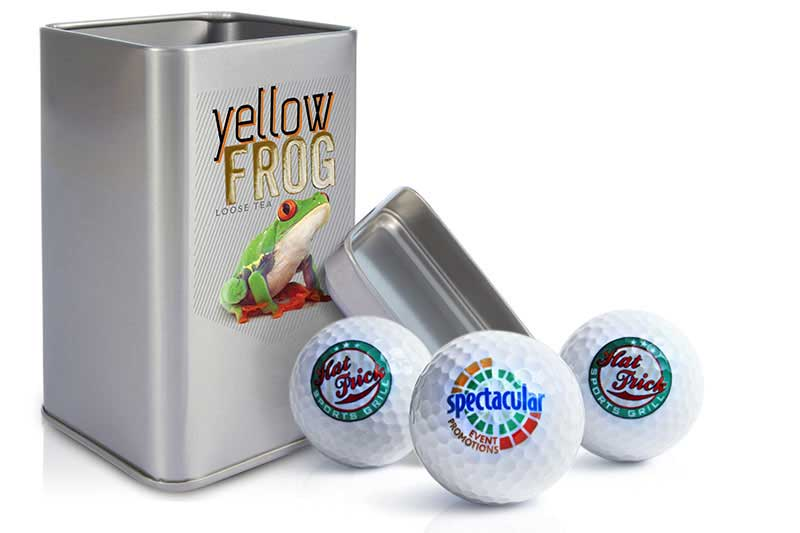print on canisters and golf balls
